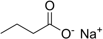 English: Chemical structure of sodium butyrate...