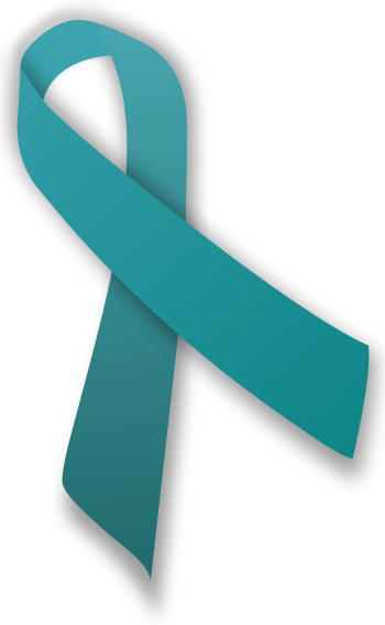 English: A teal ribbon, which is an awareness ...