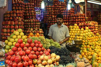 English: Fruit stall in Mysore, Karnataka. App...