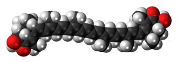 Space-filling model of the astaxanthin molecul...